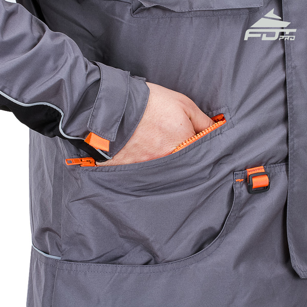 Grey Professional Design Dog Training Jacket with Reliable Side Pockets