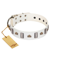 """Mysterious Voyage"" FDT Artisan White Leather Amstaff Collar with Engraved Plates and Skulls"