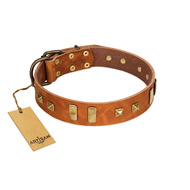"""Sand of Time"" FDT Artisan Tan Leather Amstaff Collar with Old Bronze-like Studs and Plates"