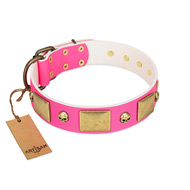 """Glammy Voyage"" FDT Artisan Pink Leather Amstaff Collar with Stylish Bronze-like Decorations"