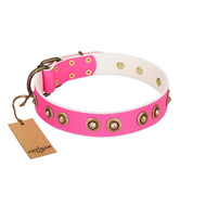 """Bright Delight"" Pink FDT Artisan Leather Amstaff Collar with Large Old Bronze-like Plated Studs"