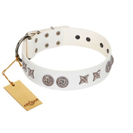 """Galaxy Hunter"" FDT Artisan White Leather Amstaff Collar with Engraved Brooches and Stars"