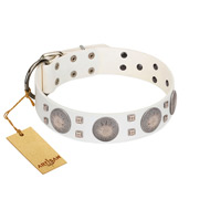 """Mighty Shields"" FDT Artisan White Leather Amstaff Collar with Chrome Plated Shields and Square Studs"