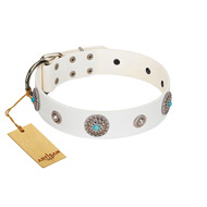 """Lush Life"" Designer Handcrafted FDT Artisan White Leather Amstaff Collar with Blue Stones"