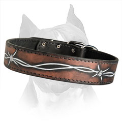 Strong Leather Dog Collar With Firm Hardware