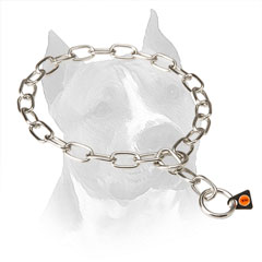 Steel Slip Amstaff Collar With Smooth Polished Links