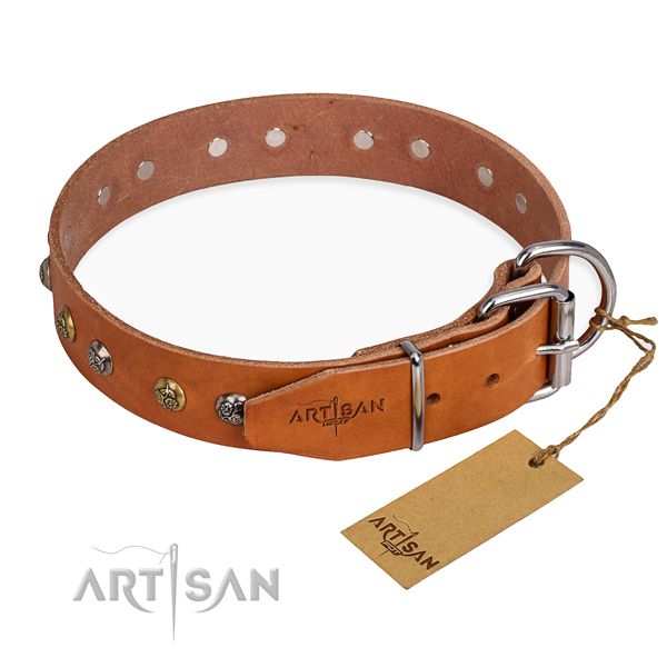 Durable natural genuine leather dog collar made for comfortable wearing