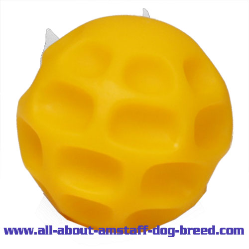 'Challenging' Treat Dispensing Amstaff Ball for Behavior Training - Small