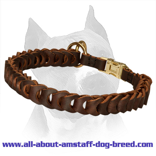 Choke Leather Amstaff Collar with Special Quick Release Buckle
