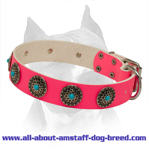 Amstaff Pink Leather Collar with Circles and Blue Stones