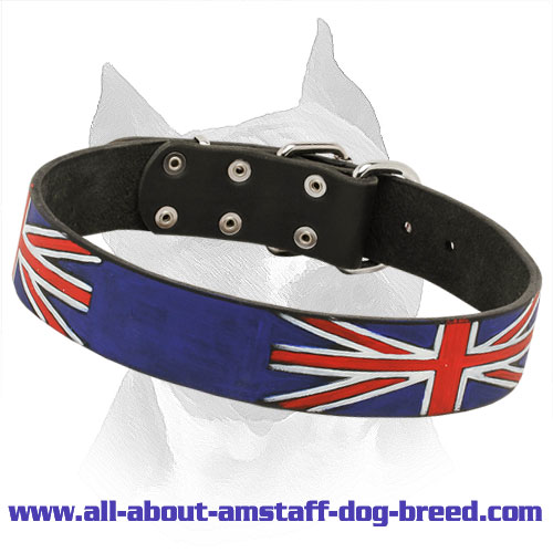 'Union Jack' Hand Painted Amstaff Leather Collar