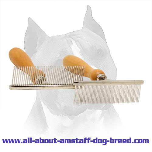 Metal Dog Comb 'Personal Stylist' With Wooden Handle