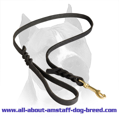 Leather Dog Leash For Walking And Tracking Activities With Your Amstaff