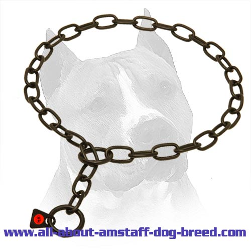 Amstaff Black Stainless Steel Choke Collar - 3mm link diameter