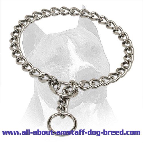 Amstaff Choke Collar with Small Fur Saving Links - 1/10 inch (3 mm) link diameter