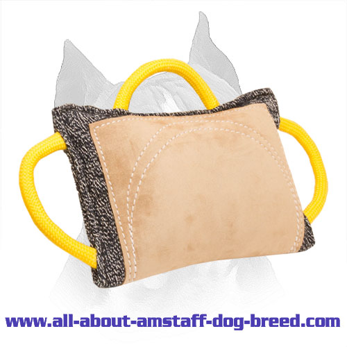 Upgraded French Linen Amstaff Bite Pad with Three Handles