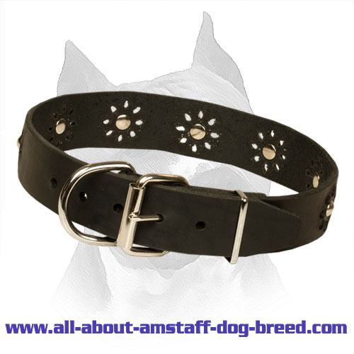 'Flower Blues' Leather Amstaff Collar for Walking in Style