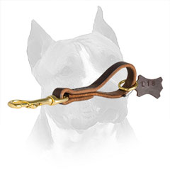 Leather Dog Pull Tab for Amstaff with Brass Snap Hook and O-ring