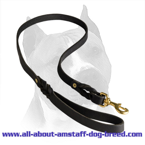 Leather Lead Amstaff Braided Design