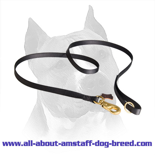 Amstaff Leash Nylon with Floating Ring for Additional Lead Attachment