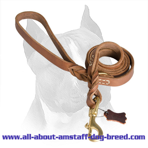 Amstaff Leash Leather with Rust-proof Snap Hook