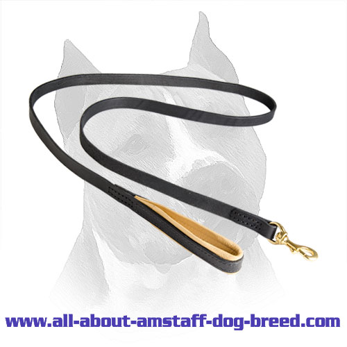 Amstaff Leather Leash With Soft Nappa Padding