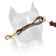 Leather Dog Leash for Amstaff Braided and Riveted