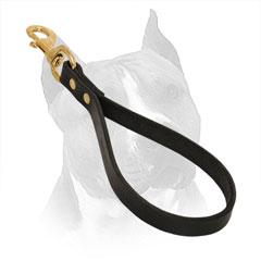 Leather Dog Leash for Amstaff with Rust Resistant Rivets