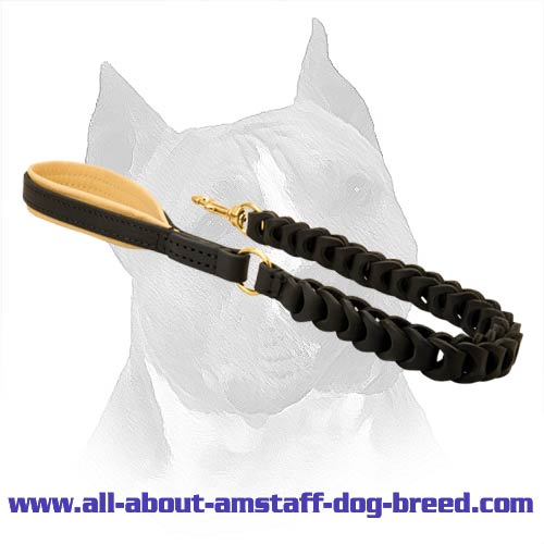 Amstaff Leather Dog Leash With Nappa Padded Handle