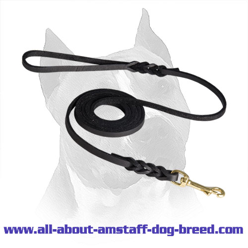 Amstaff Leather Leash Brass Snap Hook