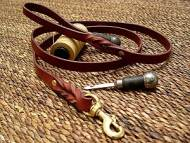 Leather dog leash for walking and tracking