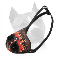 Amstaff Leather Muzzle with Steel Bar for Attack Training