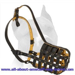 Genuine Leather Amstaff Muzzle with Nappa Padding