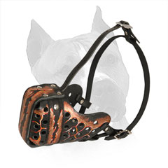 Amstaff Leather Muzzle with Soft Felt Padded Nose Area