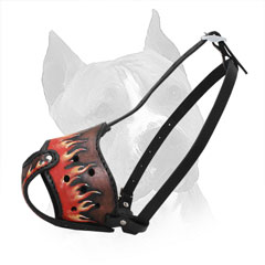 Amstaff Leather Muzzle with Easily Adjustable Straps