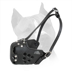 Leather Muzzle for Amstaff with Durable 2 Ways Adjustable Straps