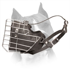 Amstaff Wire Cage Dog Muzzle with Easily Adjustable Straps