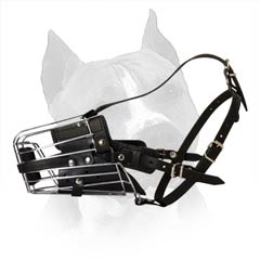 Comfortable Amstaff Leather And Metal Dog Muzzle For  Walking And Training
