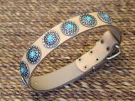 Leather Dog Collar with Silver Plated Circles Blue Stones